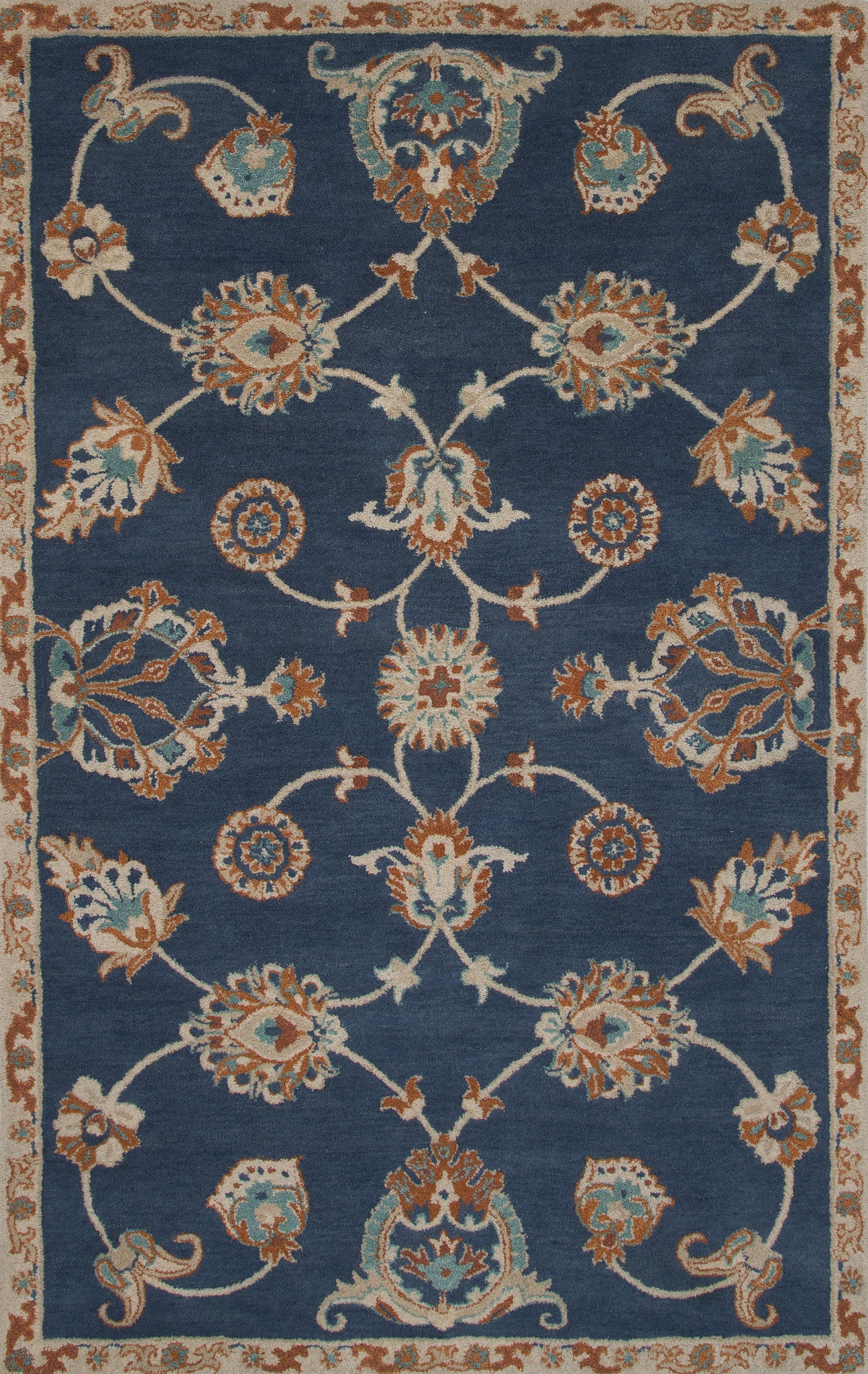Jaipur Rugs Transitional Floral Pattern Blue Wool Area Rug