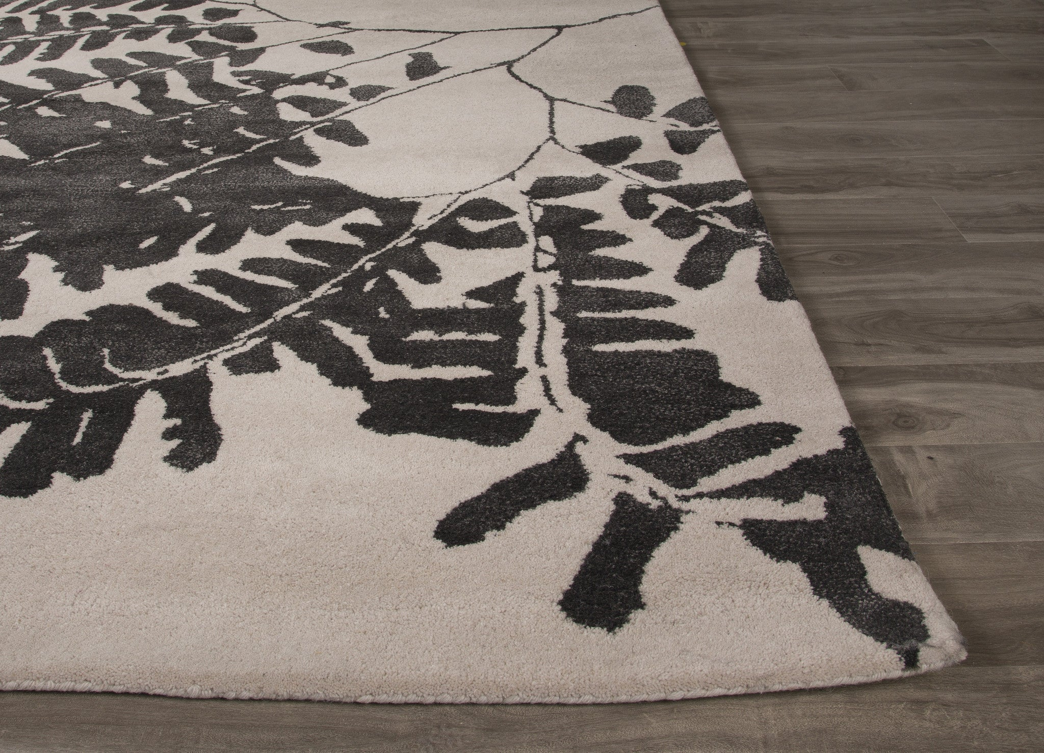 Jaipur Rugs Modern Floral Pattern White Black Wool And Art
