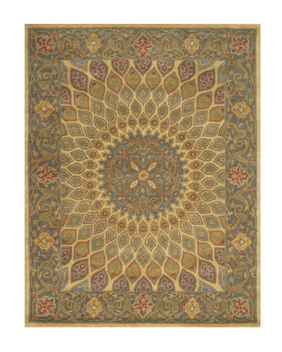 EORC Hand-tufted Wool Gold Traditional Oriental Gombad Rug