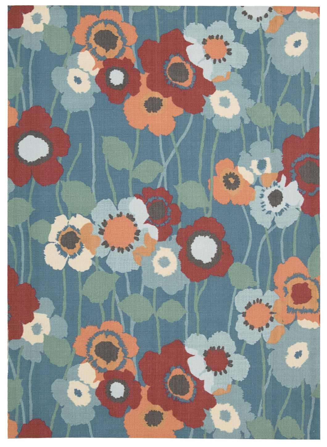 Waverly Sun & Shade Pic-A Poppy Blue Bell Area Rug By Nourison SND27 BLBEL