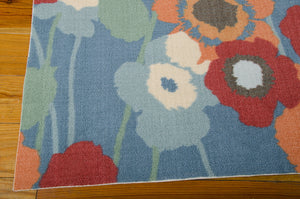 Waverly Sun & Shade Pic-A Poppy Blue Bell Area Rug By Nourison SND27 BLBEL (Rectangle)