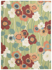 Waverly Sun & Shade Pic-A Poppy Seaglass Area Rug By Nourison SND27 SEAGL