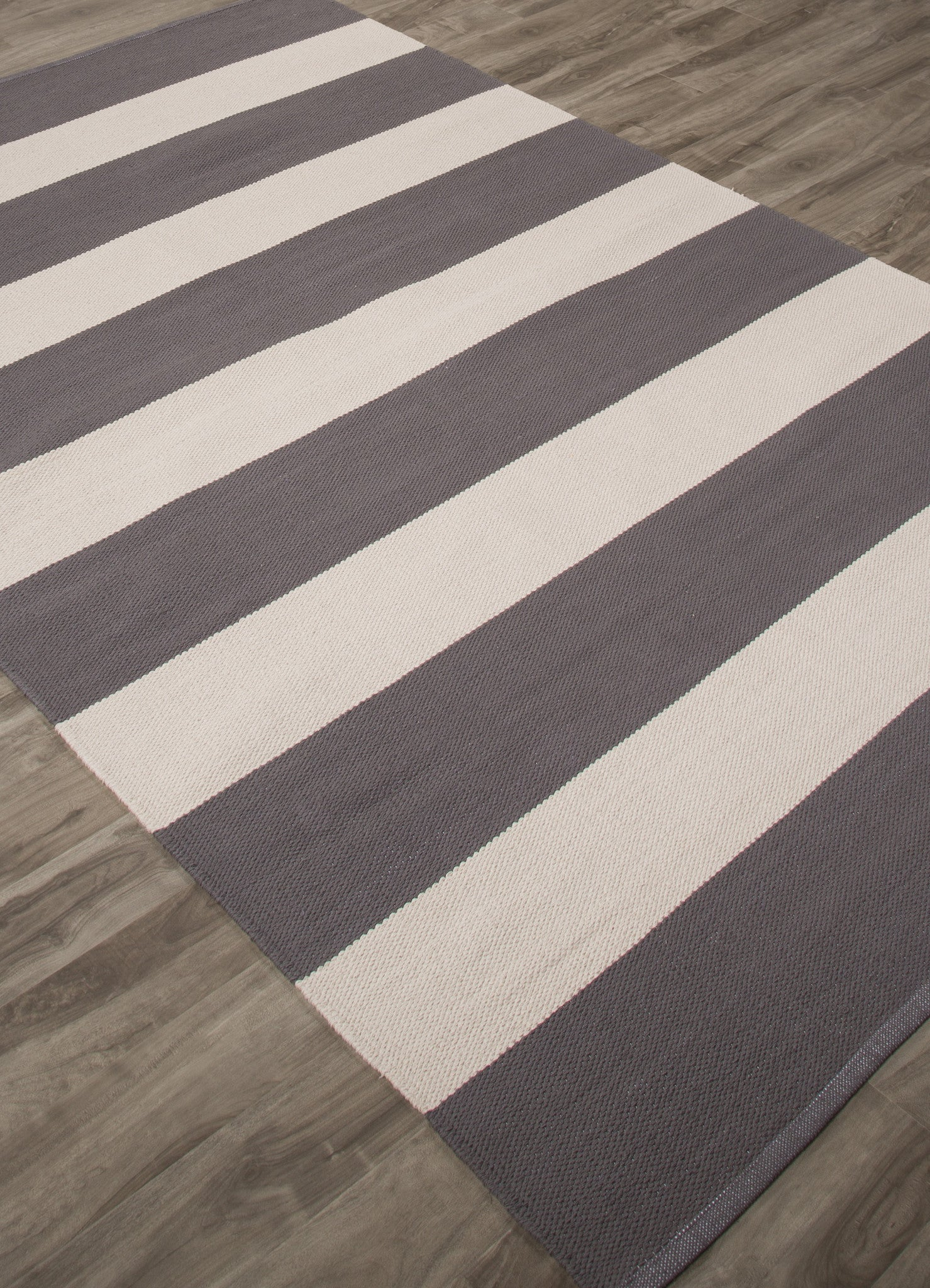 Jaipur Rugs Flatweave Stripe Pattern Gray White Cotton