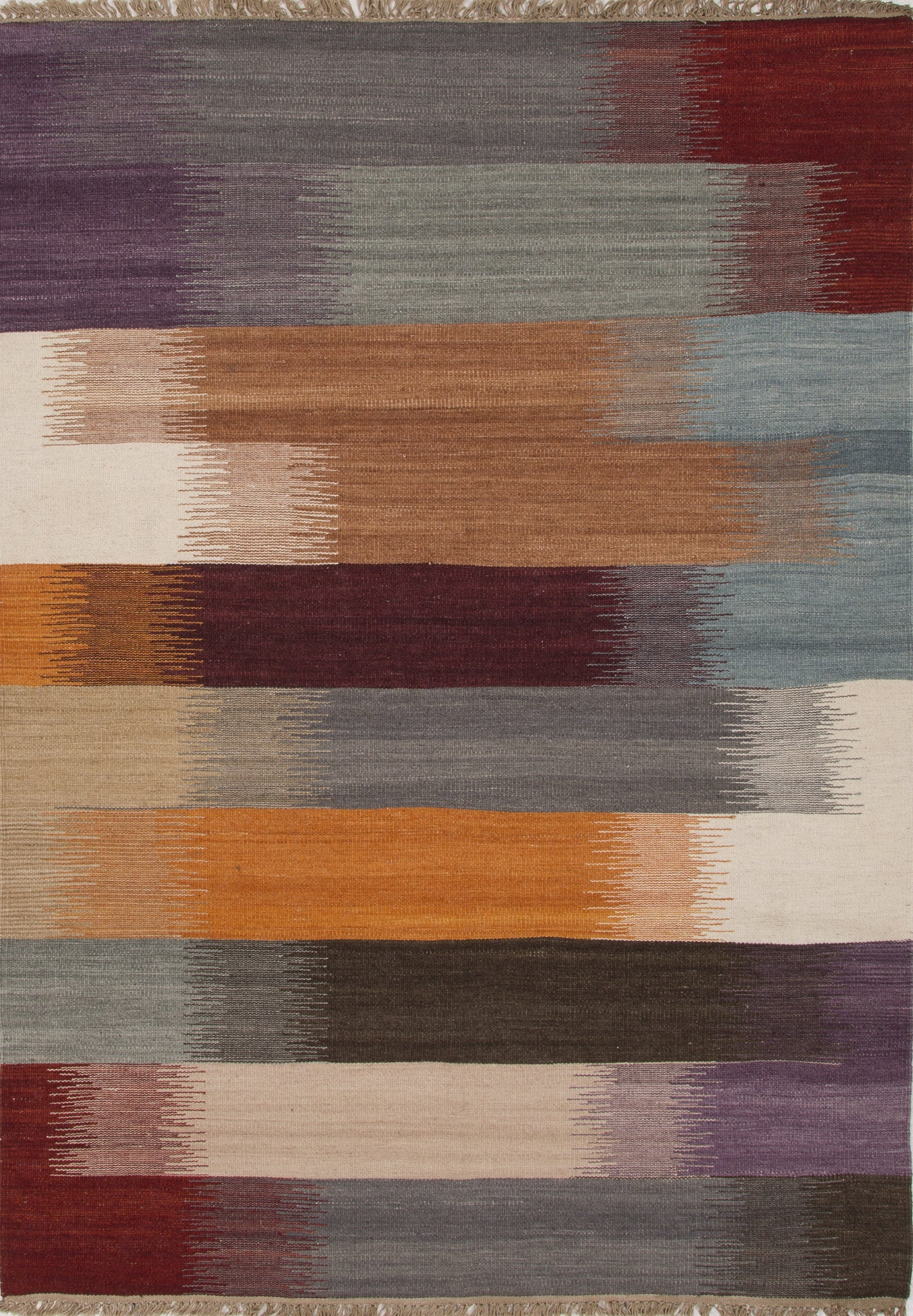 Jaipur Rugs Flatweave Stripe Pattern Multi Red Wool Area