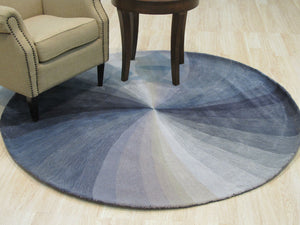 EORC Hand-tufted Wool Blue Contemporary Abstract Swirl Rug