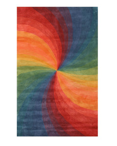 EORC Hand-tufted Wool Lollipop Contemporary Abstract Swirl Rug