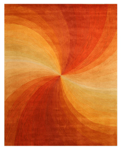 EORC Hand-tufted Wool Orange Contemporary Abstract Swirl Rug