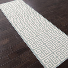 Load image into Gallery viewer, Jaipur Rugs FlatWeave Geometric Pattern Ivory/Blue Wool Area Rug UB06 (Runner)