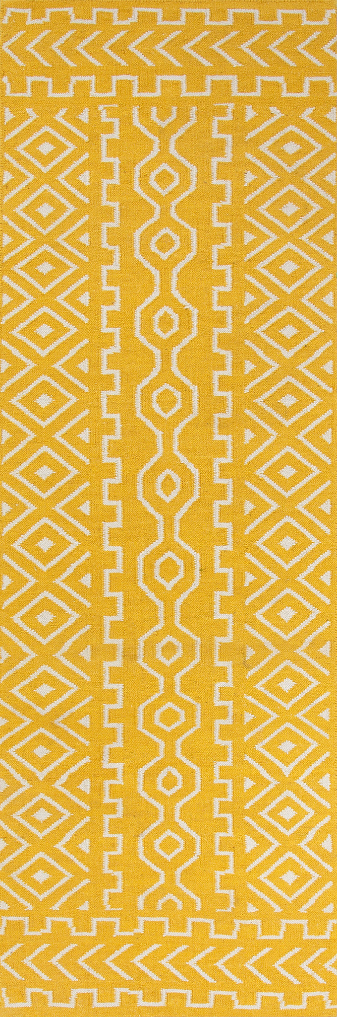 Jaipur Rugs Flat-Weave Tribal Pattern Yellow/Ivory Wool Area Rug