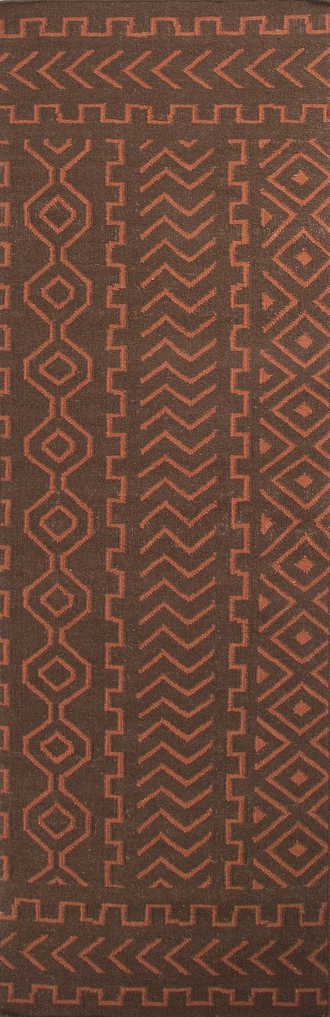 Jaipur Rugs Flat-Weave Tribal Pattern Brown/Red Wool Area Rug