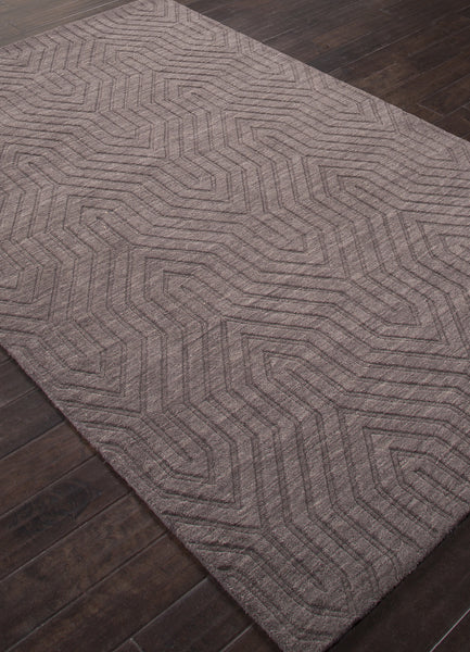 Jaipur Rugs Solid Geometric Pattern Gray Wool Area Rug