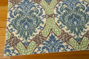 Waverly Treasures Dress Up Damask Blue Jay Area Rug By Nourison WTR03 BLJAY (Rectangle)