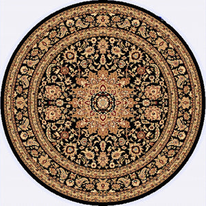 Dynamic Rugs Yazd Black-Black Classic Round Area Rug