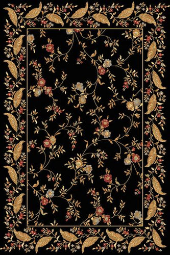 Dynamic Rugs Yazd Black-Black Floral Rectangle Area Rug