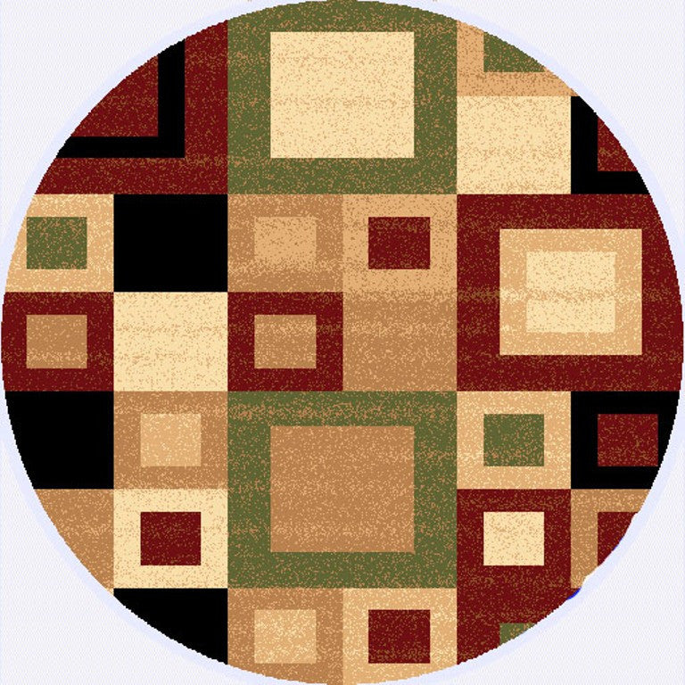 Dynamic rugs yazd red sage modern round area rug rugmethod for Round area rugs contemporary