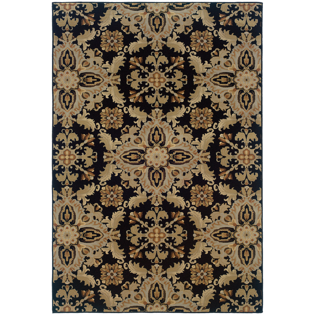 Oriental Weavers Ariana 2313B Black/Green Floral Area Rug