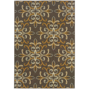 Oriental Weavers Bali 8990H Grey/Gold Floral Area Rug