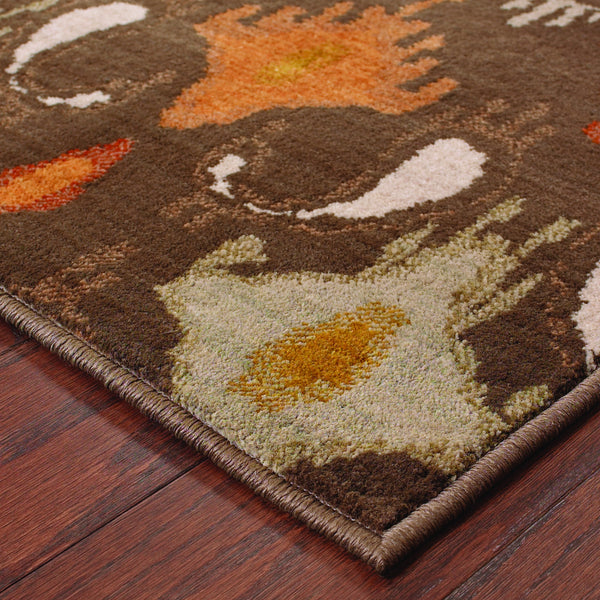 Oriental Weavers Casablanca 4447a Brown Orange Floral Area