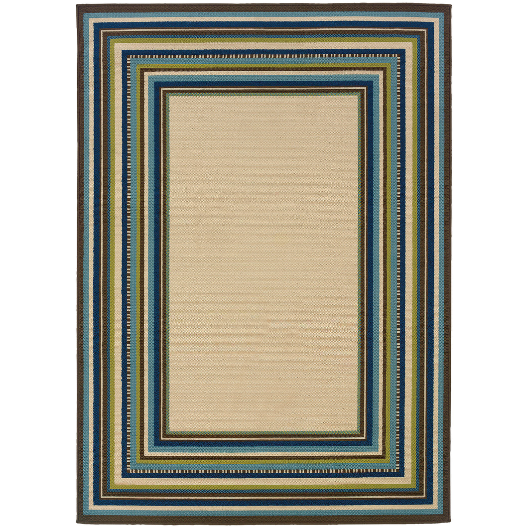 Oriental Weavers Caspian 1003X Ivory/Blue Border Area Rug