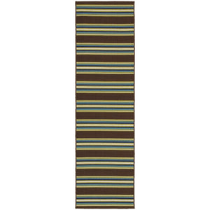 Oriental Weavers Caspian 3330N Brown/Green Stripe Area Rug