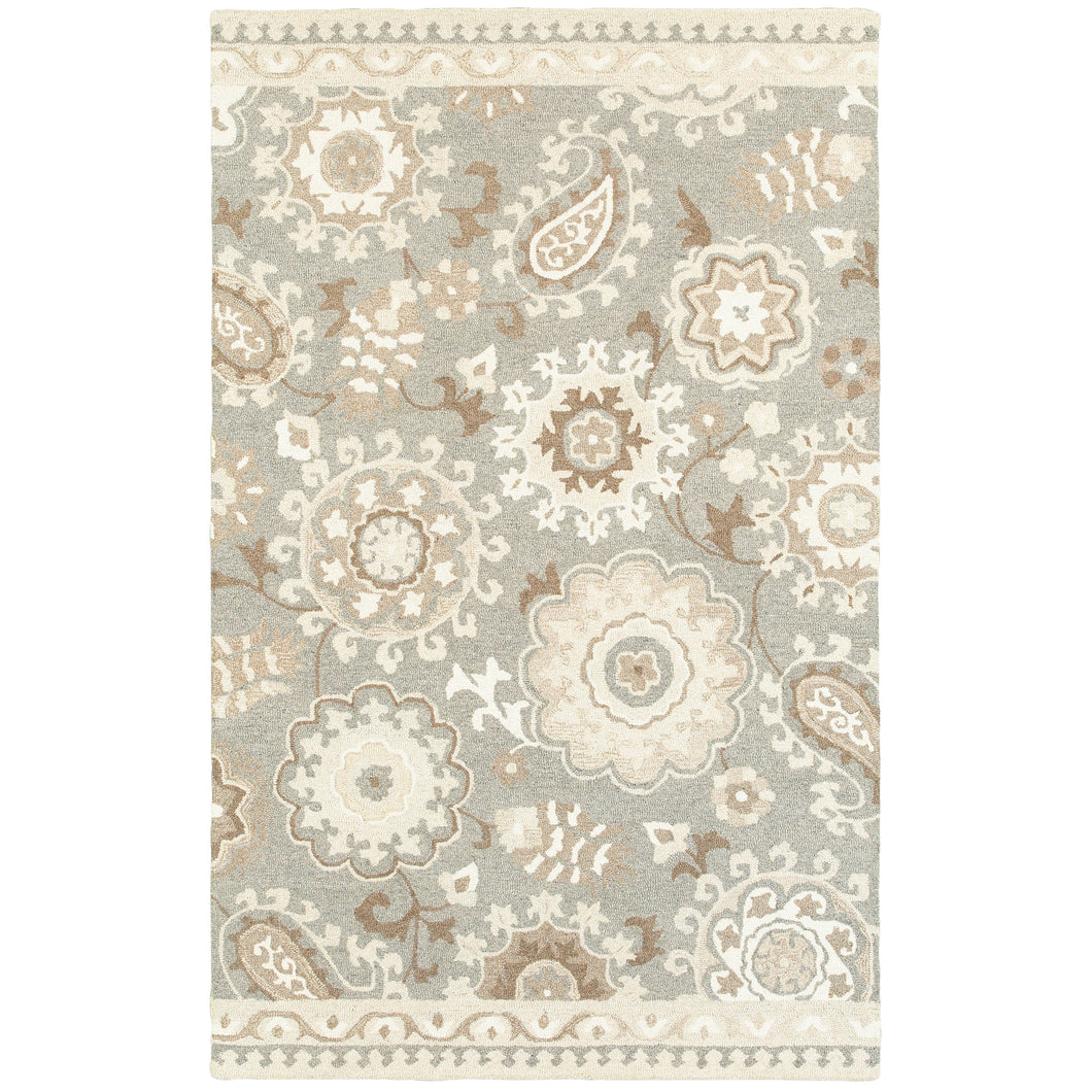 Oriental Weavers Craft 93003 Grey/ Sand Floral Area Rug