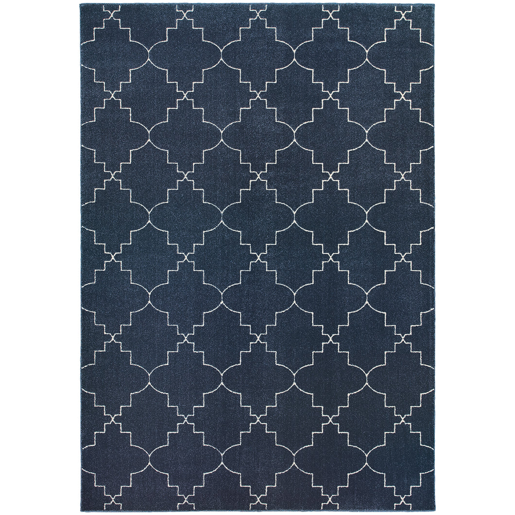 Oriental Weavers Ellerson 5994B Navy/Ivory Lattice Area Rug