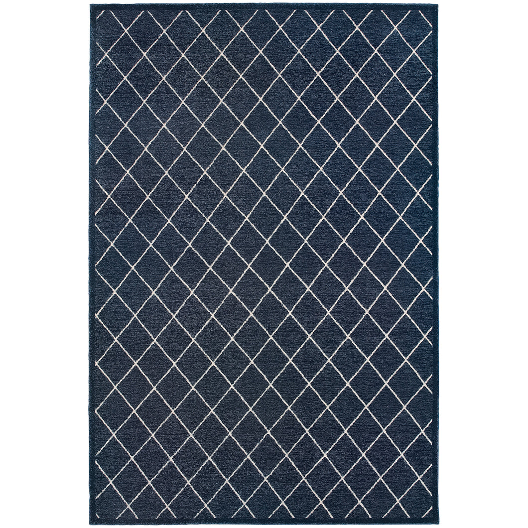 Oriental Weavers Ellerson 090Q4 Navy/Ivory Lattice Area Rug