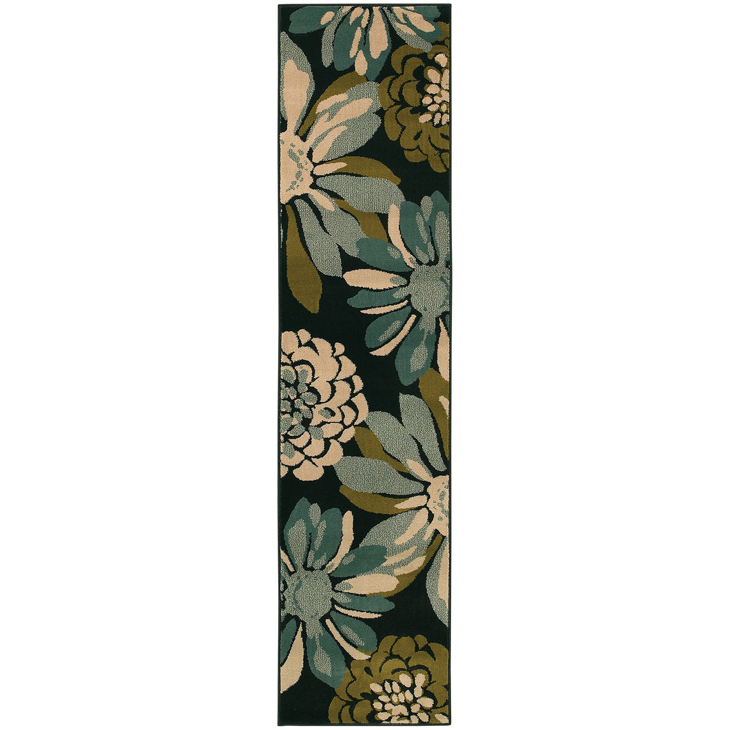 Oriental Weavers Emerson 2819A Teal/Ivory Floral Area Rug