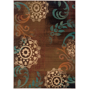 Oriental Weavers Emerson 2822A Brown/Blue Abstract Area Rug