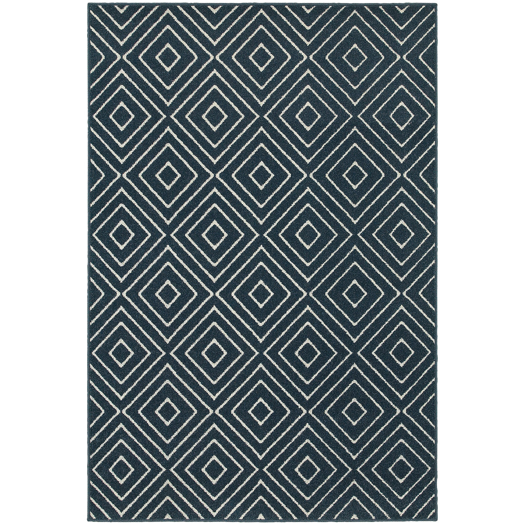 Oriental Weavers Hampton 2332B Navy/Ivory Geometric Area Rug