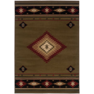 Oriental Weavers Hudson 087J1 Green/Red Southwest/Lodge Area Rug