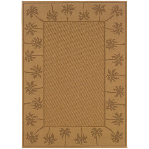 Oriental Weavers Lanai 606D7 Beige/Tan Palm Border Area Rug