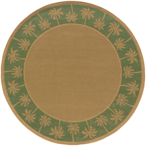 Oriental Weavers Lanai 606F6 Beige/Green Palm Border Area Rug