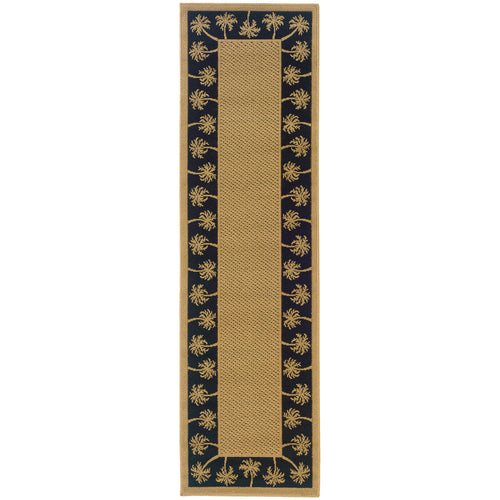 Oriental Weavers Lanai 606K5 Beige/Black Palm Border Area Rug