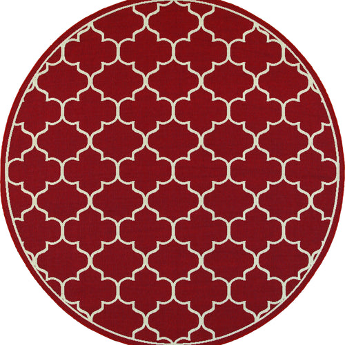 Oriental Weavers Meridian 1295R Red/Ivory Lattice Area Rug