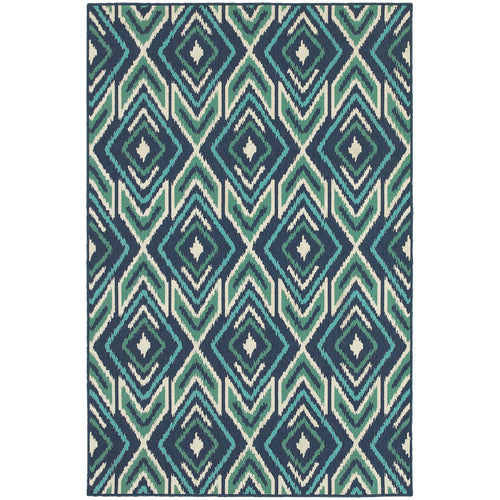 Oriental Weavers Meridian 2209B Navy/Green Geometric Area Rug
