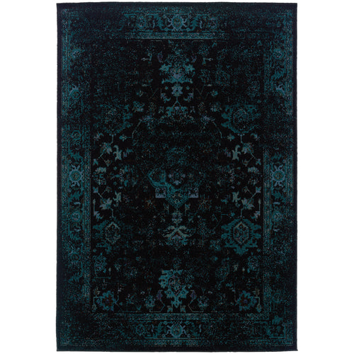 Oriental Weavers Revival 3689G Black/Teal Oriental Area Rug