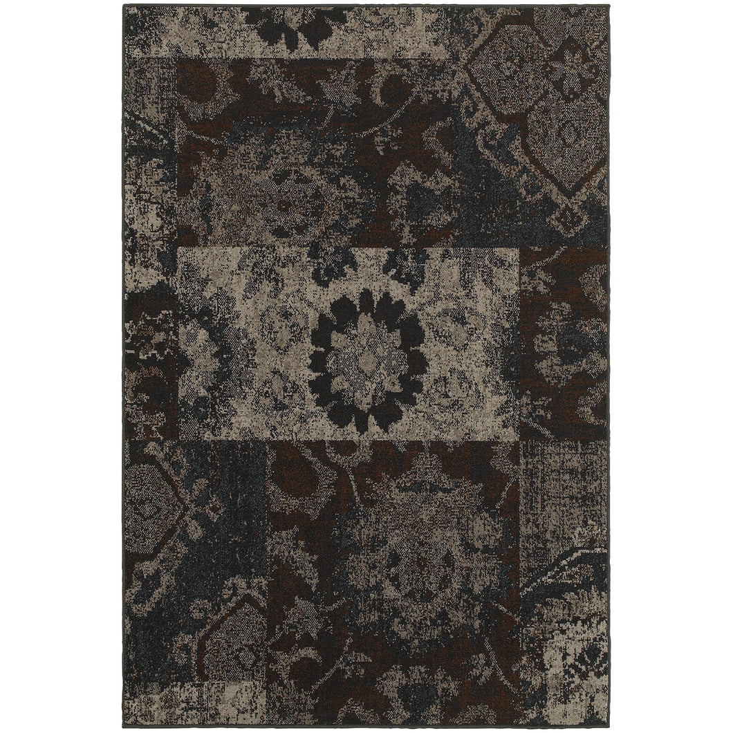 Oriental Weavers Revival 4712C Charcoal/Teal Geometric Area Rug