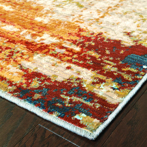 Oriental Weavers Sedona 6365A Blue/Red Abstract Area Rug