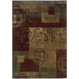 Oriental Weavers Tybee 851U6 Green/Red Geometric Area Rug