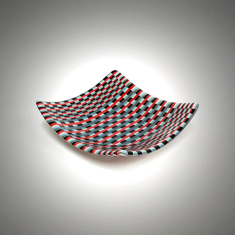 Fused Glass Art Candy Bowl | Black Red Gray Basket Weave