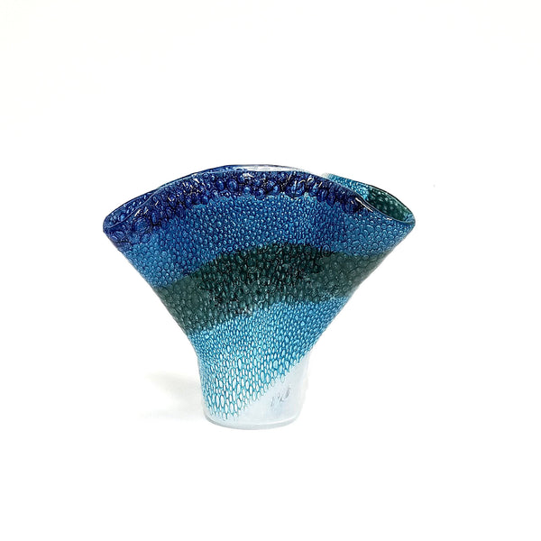 Fused Glass Crashing Ocean Wave Vase