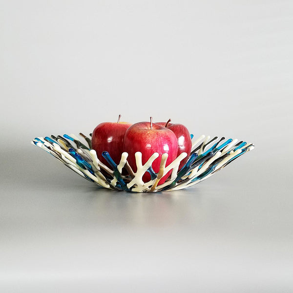 Contemporary Glass Art Coral Bowl in Ivory Turquoise Blue and Brown