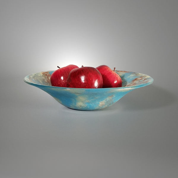 Fused Glass Art Fruit Bowl in Turquoise Ivory and Brown