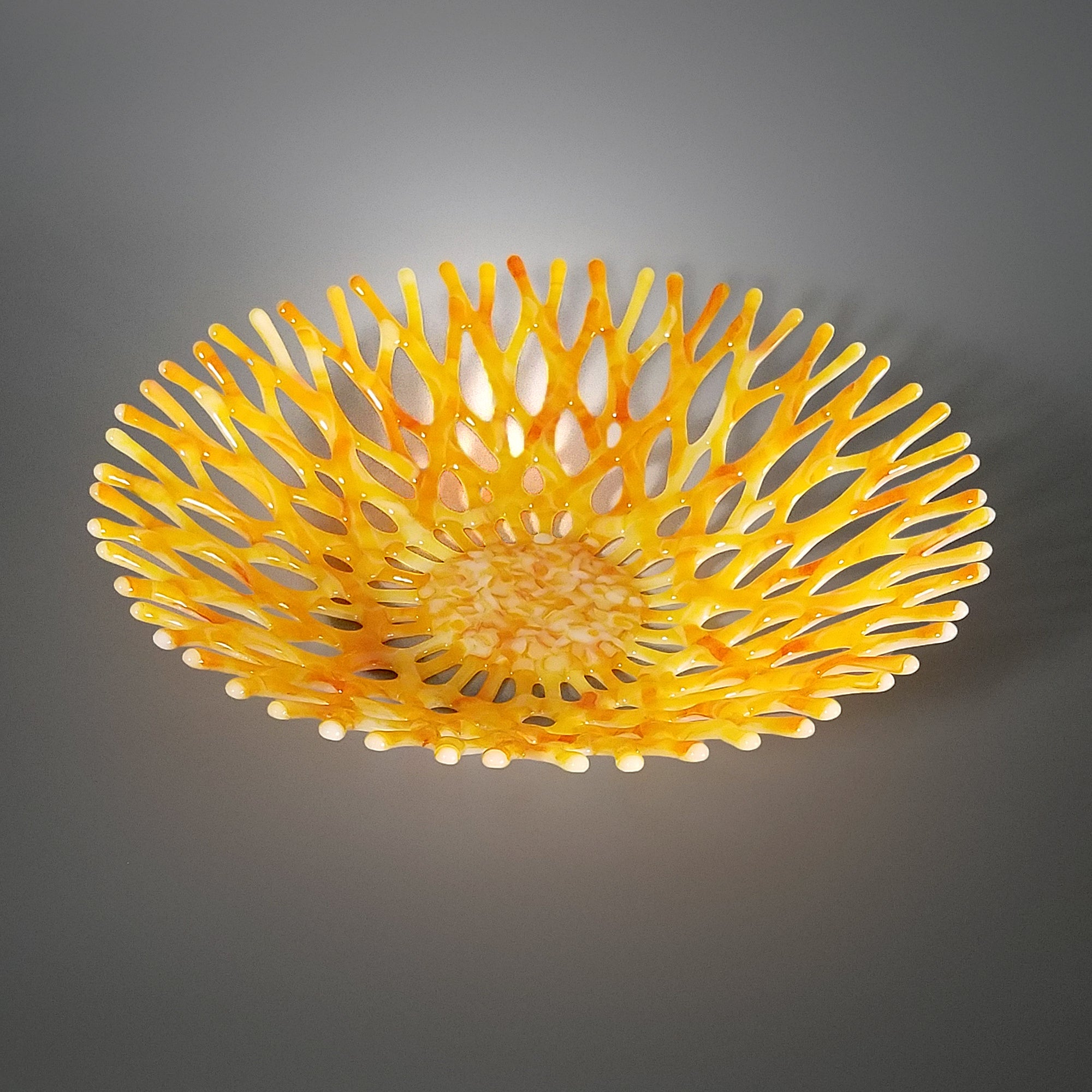 Modern Glass Art Coral Bowl in Pineapple Yellow Orange