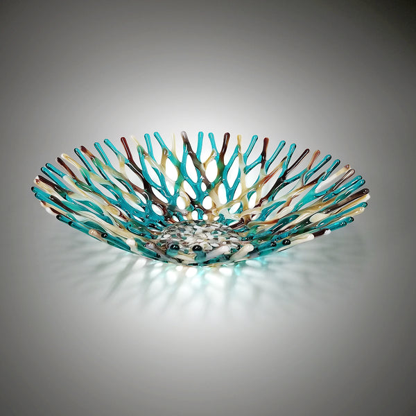 Beach Glass Art Sea Coral Bowl in Aqua Blue Green Tan Warm Brown