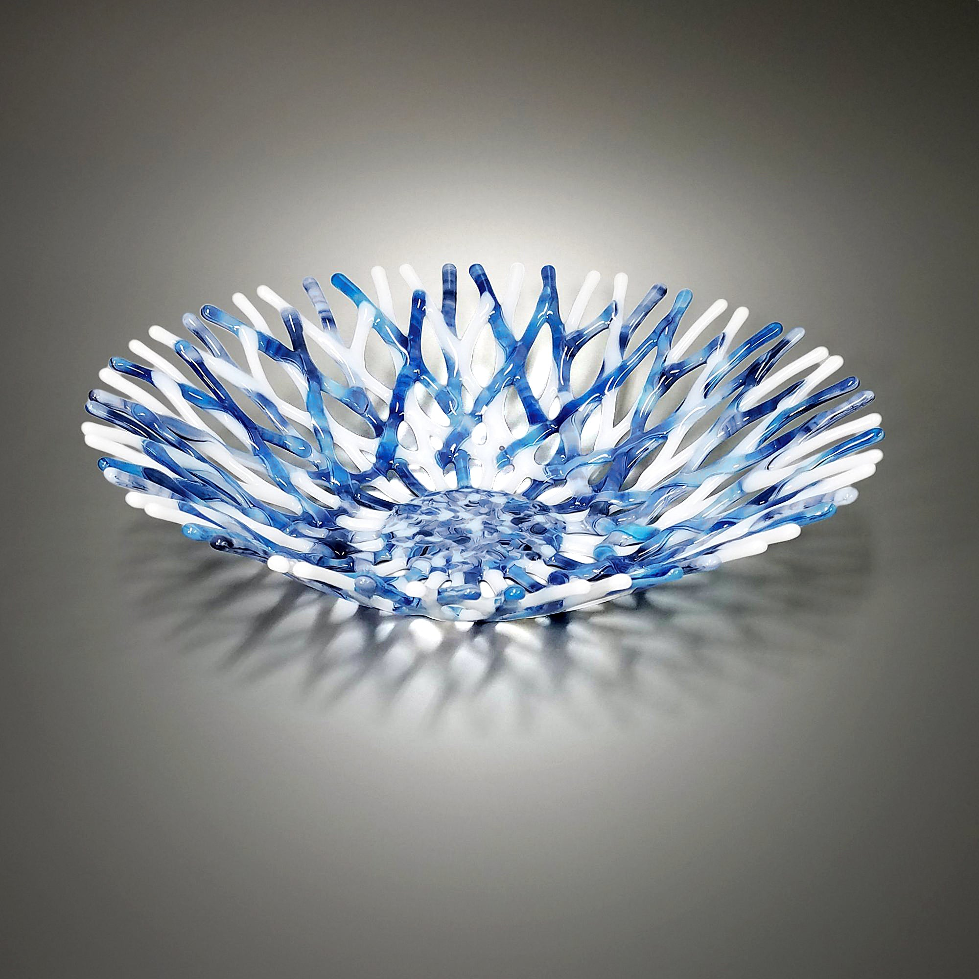 Glass Art Coral Bowl in Denim Blue and White