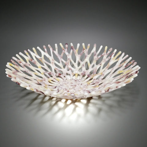 Fused Glass Art Coral Bowl in Ivory Lavender and Seashell Pink