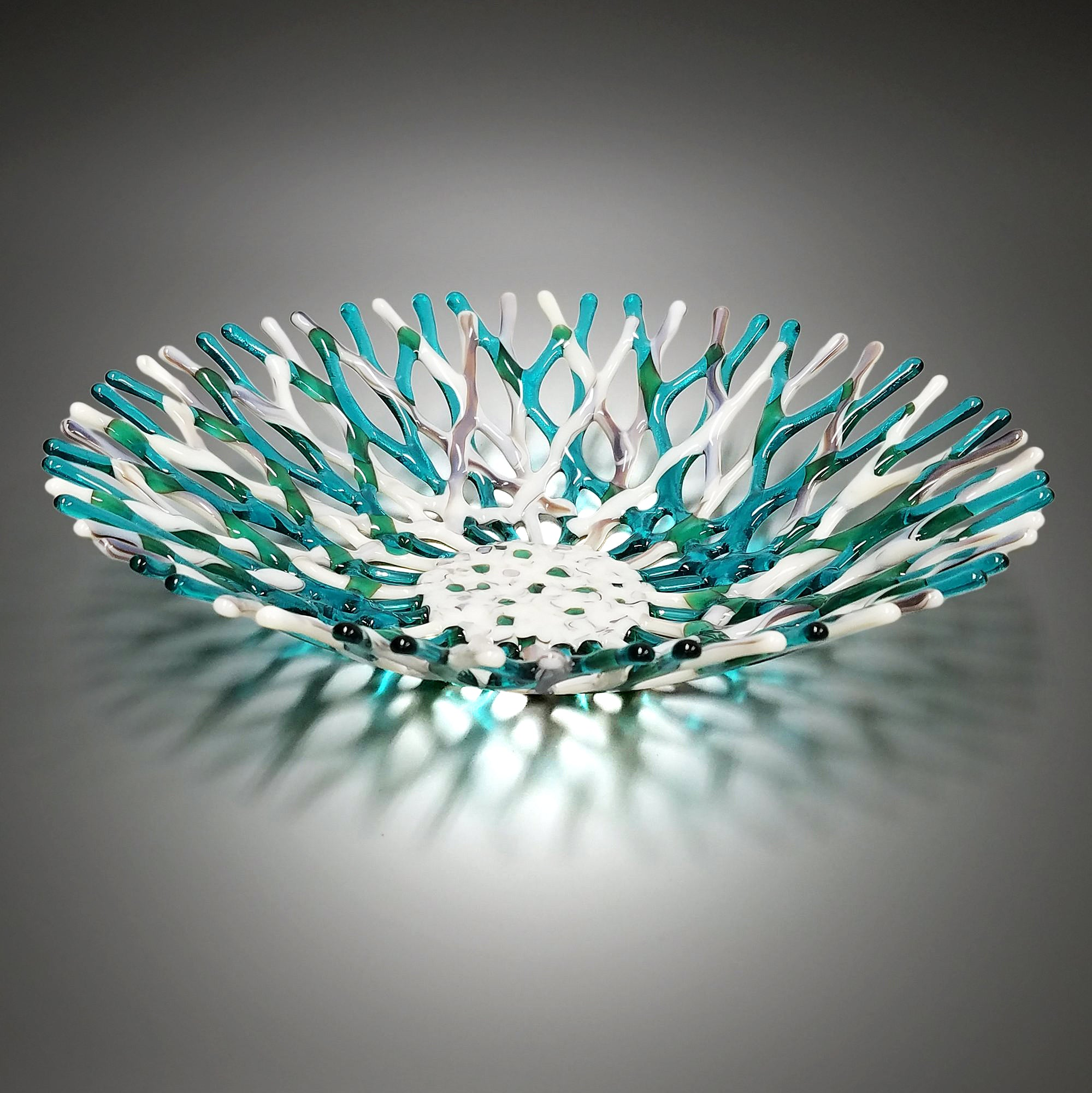 Glass Art Coral Bowl in Ivory and Aqua Blue Green Sea Glass Art