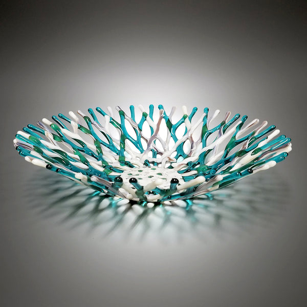 Fused Glass Art Coral Bowl in Aquamarine Blue Green and Ivory Sea Glass